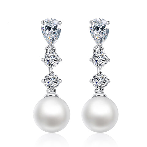 luxury cubic zircon & simulated pearl stud earrings for women