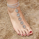 silver plated totem coins pendant multi layer chain anklet