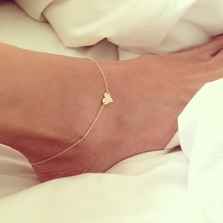 sexy golden heart pendant anklet for women