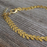 gold color leaf coin chain anklet for women