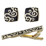 gold color tie clip & cufflinks set for men