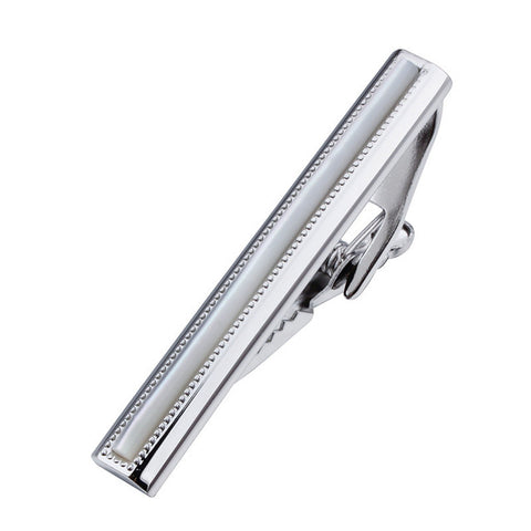 trendy tie bar with white shell tie clip for men
