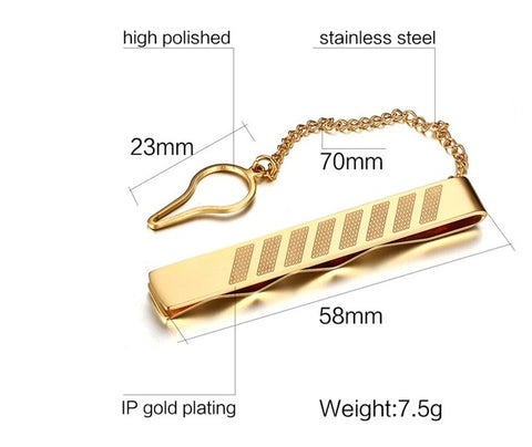 elegant gold plate tie clip for men
