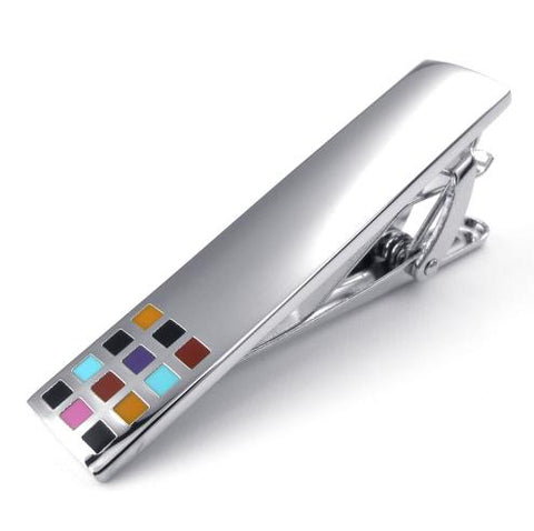 silver color square tie clip jewelry for men
