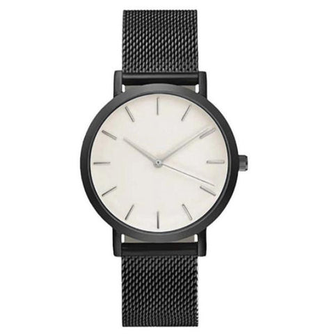 elegant minimal dial stainless steel band quartz wrist watch