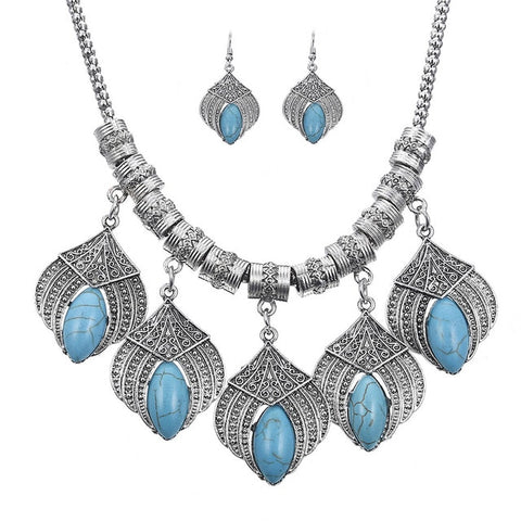 vintage stone leaf tassel statement jewelry set for women