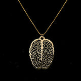 trendy hollow metal brain shape necklace & pendant