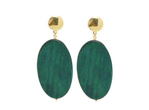 elegant big oval green natural wood drop earrings for women