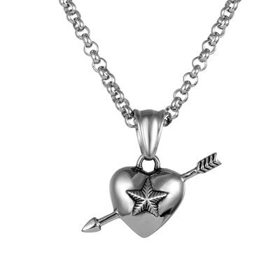 cool silver color arrow in heart pendant necklace for men