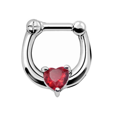 surgical steel heart shape septum piercing nose ring