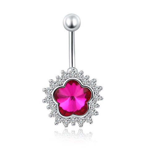 flower rhinestone piercing belly button ring