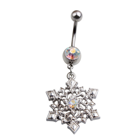 silver color snowflake clear rhinestone belly button ring