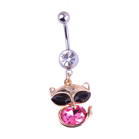 rhinestone fox shape piercing belly button ring