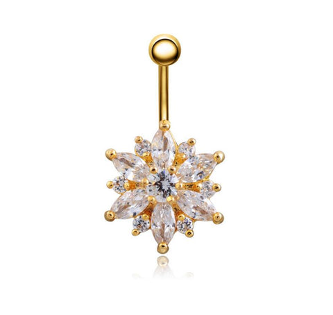 rhinestone flower piercing belly button ring