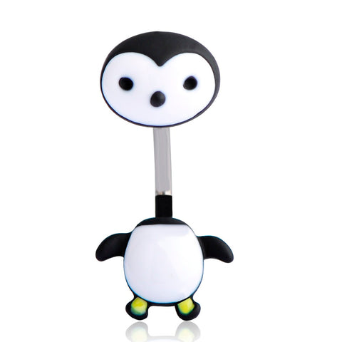 cute enamel penguin navel belly button ring