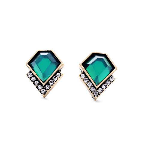 luxury small green crystal stud earrings for women