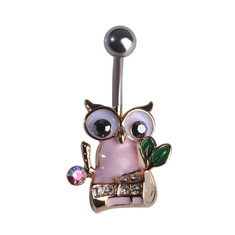 pink owl navel piercing belly button ring