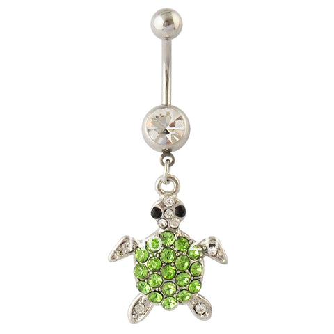 green crystal turtle dangle navel belly button ring