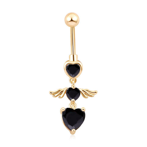 medical steel crystal rhinestone heart navel belly button ring