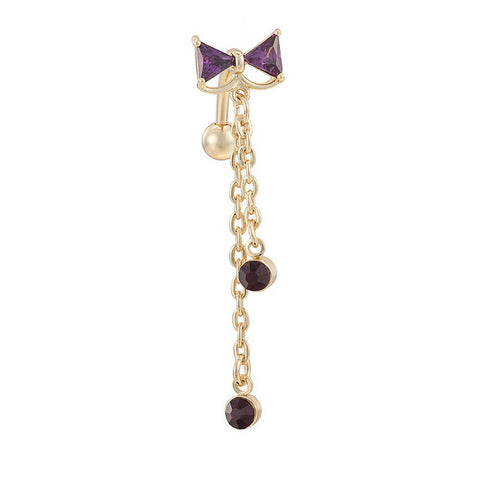 golden bowknot crystal tassel navel & belly button ring