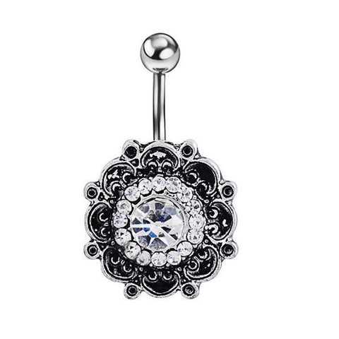 vintage flower piercing crystal belly button ring