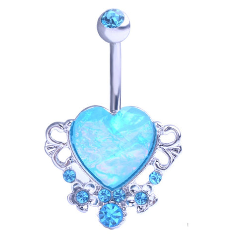 crystal fake opal heart belly button ring for women