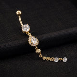 crystal drop pendant tassel gold color navel belly button ring