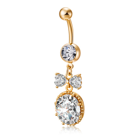 surgical steel navel big zircon bowknot belly button ring