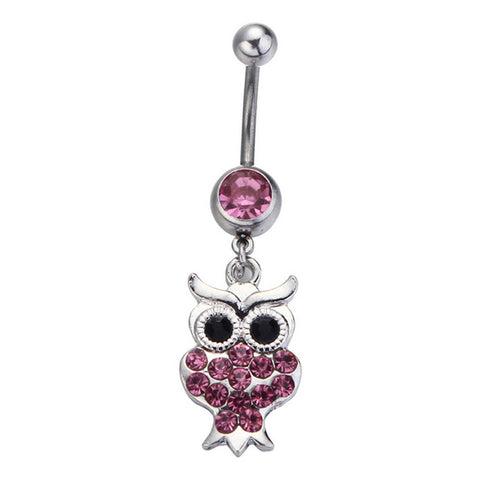 stainless steel cute crystal owl navel & belly button ring