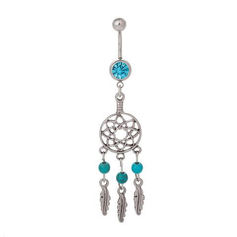 crystal dreamcatcher navel belly button ring
