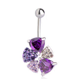 violet color crystal flower navel belly button ring