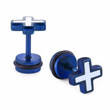 enamel cross stainless steel tragus stud earrings
