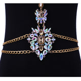 luxury crystal chain body necklace statement for women