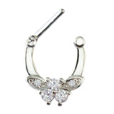 zircon butterfly clip on septum nose ring