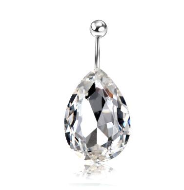 crystal drop navel piercing belly button ring