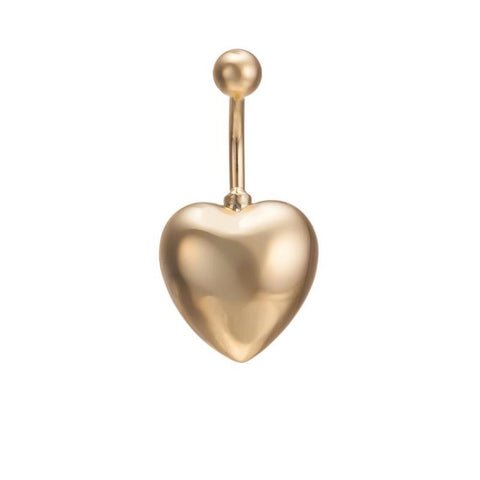 gold color surgical piercing heart shape belly button ring