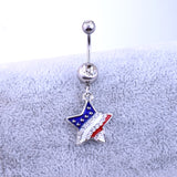 American Flag Navel Piercing Star Shaped Belly Button Ring