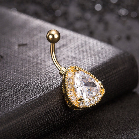 Gold Color Triangle Cubic Zircon Cz Sexy Belly Button Ring Very