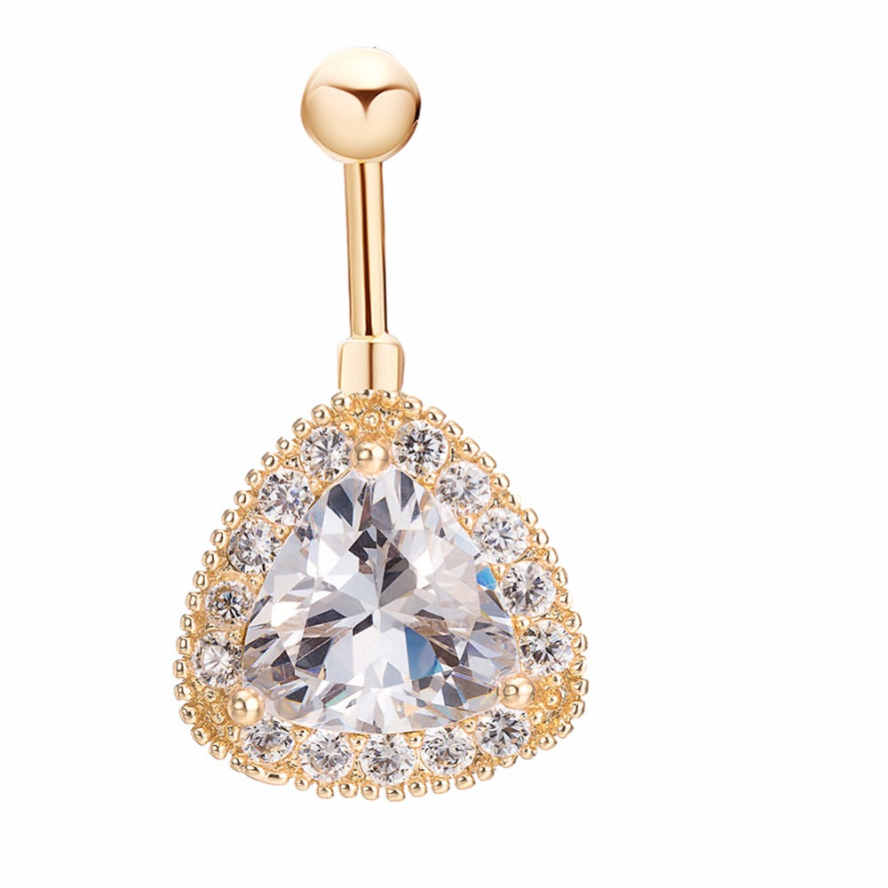 Gold Color Triangle Cubic Zircon Cz Sexy Belly Button Ring