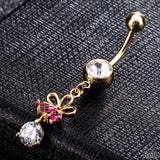flower rhinestone dangle navel belly button ring