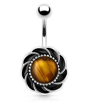 surgical steel simulated tiger eye navel piercing belly button ring
