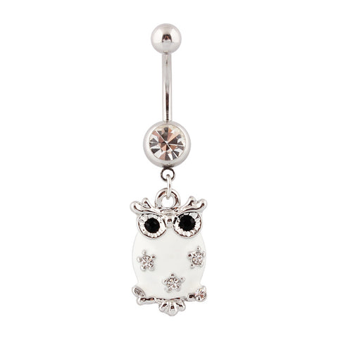 owl navel piercing crystal belly button ring