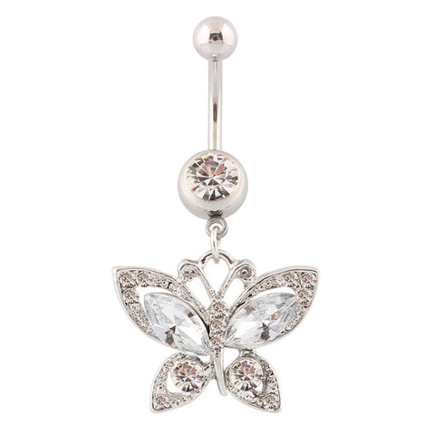 piercing navel crystal butterfly belly button ring