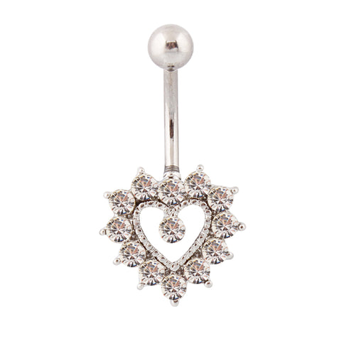 surgical steel bar crystal heart belly button ring