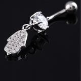 navel piercing hamsa hand belly button ring