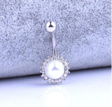 big crystal dangle belly button ring for women