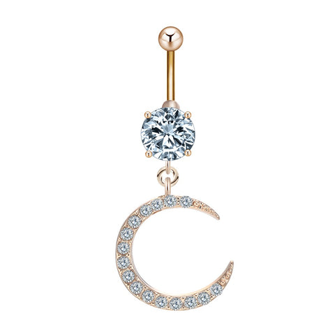 crystal moon & star piercing belly button ring