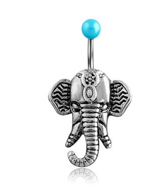 stainless steel elephant navel belly button ring