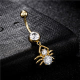 golden spider navel piercing belly button ring