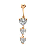 stainless steel piercing three hearts zircon belly button ring
